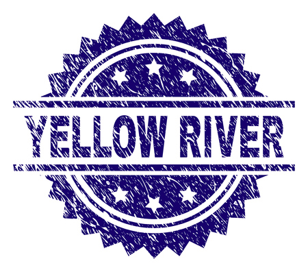 YELLOW RIVER stamp seal watermark with distress style. Blue vector rubber print of YELLOW RIVER text with dirty texture.