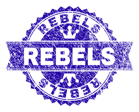 REBELS rosette stamp watermark with grunge effect. Designed with round rosette, ribbon and small crowns. Blue vector rubber watermark of REBELS caption with dirty style. Vectores