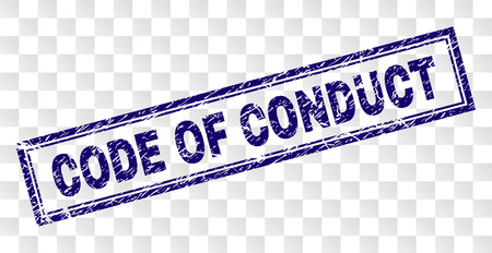 CODE OF CONDUCT stamp seal print with rubber print style and double framed rectangle shape. Stamp is placed on a transparent background.