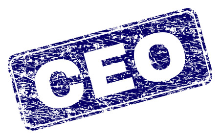 CEO stamp seal print with distress texture. Seal shape is a rounded rectangle with frame. Blue vector rubber print of CEO tag with unclean texture.