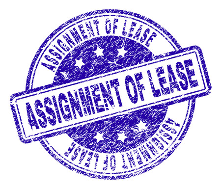 ASSIGNMENT OF LEASE stamp seal imprint with grunge texture. Designed with rounded rectangles and circles. Blue vector rubber print of ASSIGNMENT OF LEASE text with grunge texture.