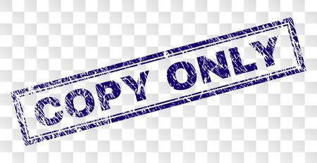 COPIA SOLAMENTE estampado de sello de sello con estilo de impresión de goma y forma de rectángulo de doble marco. El sello se coloca sobre un fondo transparente. Impresión de goma azul vector de etiqueta COPY ONLY con textura corroída.