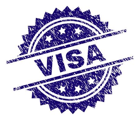 Filigrane de sceau de timbre VISA avec style de détresse. Impression en caoutchouc de vecteur bleu de l'étiquette VISA avec texture grunge. Vecteurs