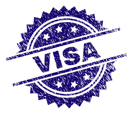 VISA stamp seal watermark with distress style. Blue vector rubber print of VISA label with grunge texture. Vektorgrafik