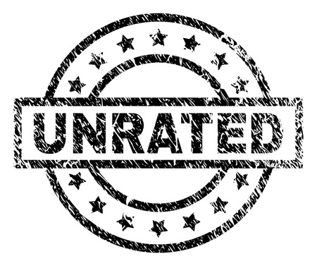 UNRATED stamp seal watermark with distress style. Designed with rectangle, circles and stars. Black vector rubber print of UNRATED label with dust texture.