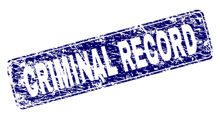 CRIMINAL RECORD stamp seal print with distress texture. Seal shape is a rounded rectangle with frame. Blue vector rubber print of CRIMINAL RECORD text with corroded texture.