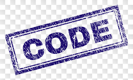 CODE stamp seal imprint with rubber print style and double framed rectangle shape. Stamp is placed on a transparent background. Blue vector rubber print of CODE title with scratched texture.