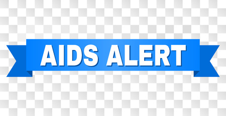 AIDS ALERT text on a ribbon. Designed with white caption and blue stripe. Vector banner with AIDS ALERT tag on a transparent background. Stock Illustratie