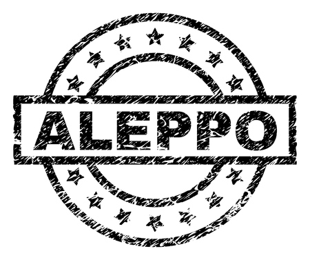 ALEPPO stamp seal watermark with distress style. Designed with rectangle, circles and stars. Black vector rubber print of ALEPPO label with grunge texture. Ilustración de vector