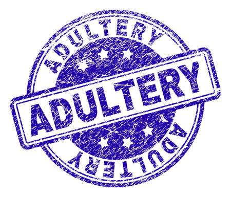 ADULTERY stamp seal imprint with grunge texture. Designed with rounded rectangles and circles. Blue vector rubber print of ADULTERY title with scratched texture. Illustration