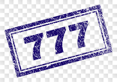 777 stamp seal print with scratched style and double framed rectangle shape. Stamp is placed on a transparent background. Blue vector rubber print of 777 label with dust texture.
