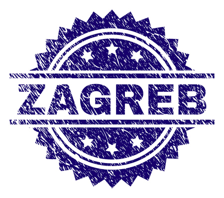 ZAGREB stamp seal watermark with distress style. Blue vector rubber print of ZAGREB caption with scratched texture.  イラスト・ベクター素材
