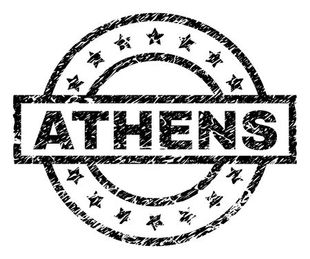 ATHENS stamp seal watermark with distress style. Designed with rectangle, circles and stars. Black vector rubber print of ATHENS label with unclean texture.