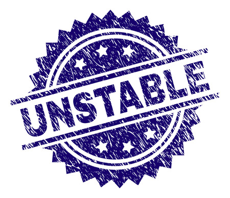 UNSTABLE stamp seal watermark with distress style. Blue vector rubber print of UNSTABLE title with retro texture.