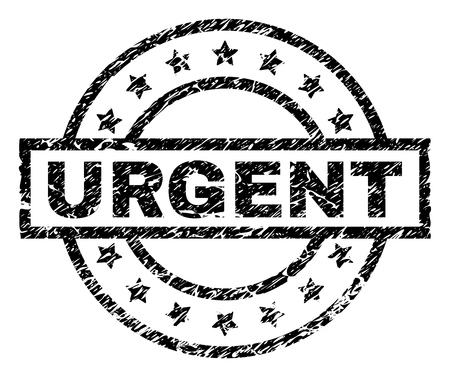URGENT stamp seal watermark with distress style. Designed with rectangle, circles and stars. Black vector rubber print of URGENT text with retro texture.