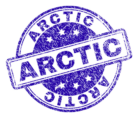 ARCTIC stamp seal imprint with distress texture. Designed with rounded rectangles and circles. Blue vector rubber print of ARCTIC caption with corroded texture.  イラスト・ベクター素材