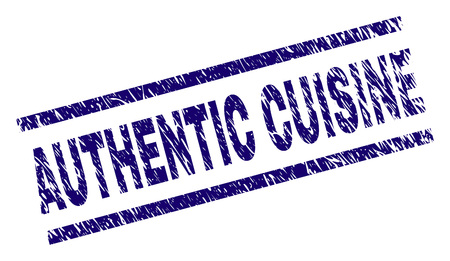 AUTHENTIC CUISINE seal imprint with distress style. Blue vector rubber print of AUTHENTIC CUISINE text with corroded texture. Text caption is placed between parallel lines.