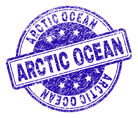 ARCTIC OCEAN stamp seal imprint with grunge texture. Designed with rounded rectangles and circles. Blue vector rubber print of ARCTIC OCEAN text with dust texture.