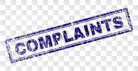 COMPLAINTS stamp seal print with corroded style and double framed rectangle shape. Stamp is placed on a transparent background. Blue vector rubber print of COMPLAINTS label with retro texture. Illustration