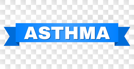 ASTHMA text on a ribbon. Designed with white caption and blue stripe. Vector banner with ASTHMA tag on a transparent background.