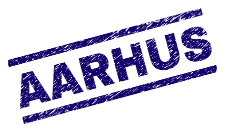 AARHUS seal print with grunge style. Blue vector rubber print of AARHUS caption with corroded texture. Text caption is placed between parallel lines.