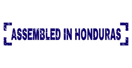 ASSEMBLED IN HONDURAS title seal watermark with grunge texture. Text title is placed inside corners. Blue vector rubber print of ASSEMBLED IN HONDURAS with corroded texture.
