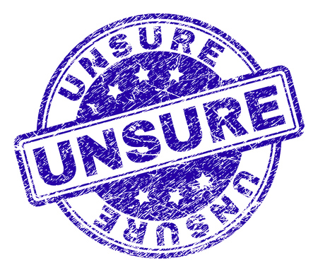 UNSURE stamp seal watermark with grunge texture. Designed with rounded rectangles and circles. Blue vector rubber print of UNSURE caption with dust texture.