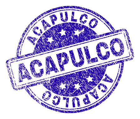 ACAPULCO stamp seal imprint with distress texture. Designed with rounded rectangles and circles. Blue vector rubber print of ACAPULCO label with corroded texture.