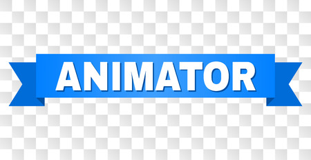 ANIMATOR text on a ribbon. Designed with white title and blue tape. Vector banner with ANIMATOR tag on a transparent background.