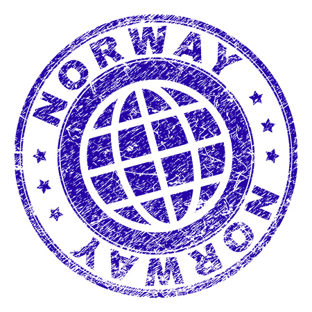 NORWAY stamp imprint with grunge texture. Blue vector rubber seal imprint of NORWAY title with grunge texture. Seal has words placed by circle and planet symbol.
