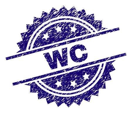 WC stamp seal watermark with distress style. Blue vector rubber print of WC label with unclean texture.