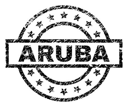 Filigrana sigillo timbro ARUBA con stile afflitto. Progettato con rettangolo, cerchi e stelle. Stampa in gomma nera vettoriale dell'etichetta ARUBA con trama sporca. Vettoriali