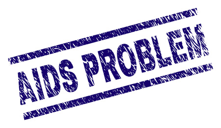 AIDS PROBLEM seal print with distress style. Blue vector rubber print of AIDS PROBLEM label with dust texture. Text label is placed between parallel lines.