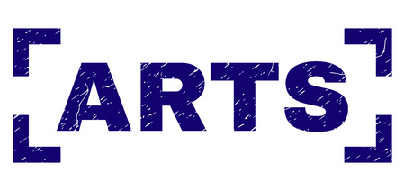 ARTS title seal print with corroded texture. Text title is placed inside corners. Blue vector rubber print of ARTS with grunge texture.