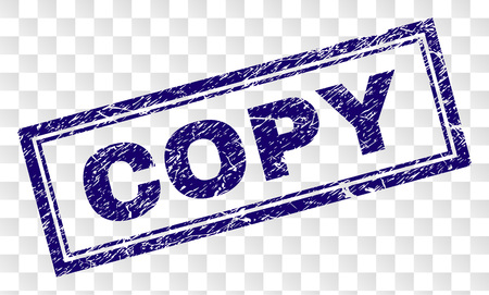 Copie de sceau de timbre avec style d'impression en caoutchouc et forme de rectangle à double cadre. Le timbre est placé sur un fond transparent. Impression en caoutchouc de vecteur bleu d'étiquette de copie avec texture grunge. Vecteurs