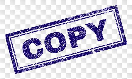 Impresión de sello de sello COPY con estilo de impresión de goma y forma de rectángulo de doble marco. El sello se coloca sobre un fondo transparente. Impresión de goma azul vector de etiqueta COPIA con textura grunge. Ilustración de vector