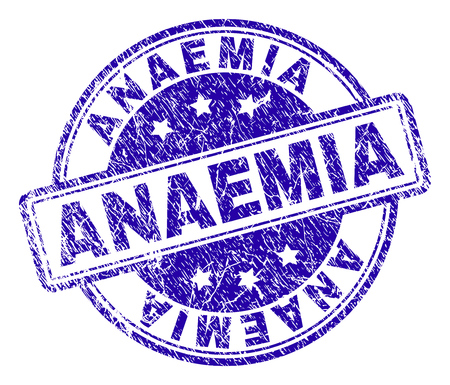 ANAEMIA stamp seal watermark with grunge effect. Designed with rounded rectangles and circles. Blue vector rubber print of ANAEMIA caption with grunge texture.