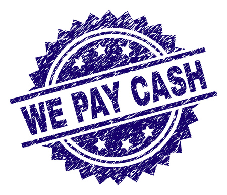 WE PAY CASH stamp seal watermark with distress style. Blue vector rubber print of WE PAY CASH caption with unclean texture. Illustration