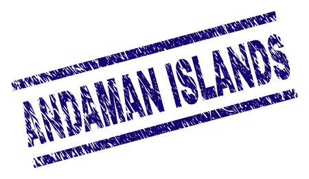 ANDAMAN ISLANDS seal print with distress style. Blue vector rubber print of ANDAMAN ISLANDS label with corroded texture. Text label is placed between parallel lines. Иллюстрация