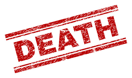 DEATH seal print with grunge effect. Red vector rubber print of DEATH label with retro texture. Text title is placed between double parallel lines.