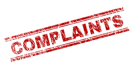 COMPLAINTS seal watermark with corroded texture. Red vector rubber print of COMPLAINTS tag with corroded texture. Text title is placed between double parallel lines. Stockfoto - 114174348
