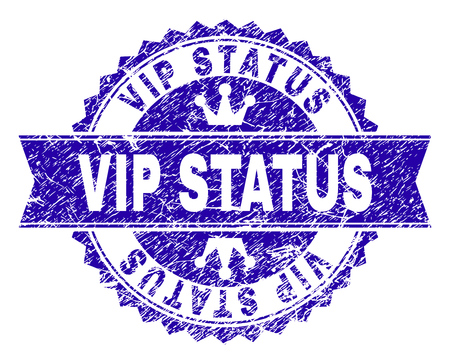 VIP STATUS rosette stamp seal watermark with grunge texture. Designed with round rosette, ribbon and small crowns. Blue vector rubber watermark of VIP STATUS caption with corroded texture.