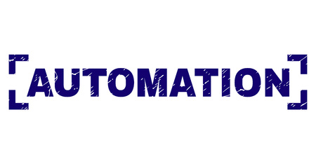 AUTOMATION text seal print with corroded style. Text caption is placed inside corners. Blue vector rubber print of AUTOMATION with scratched texture.