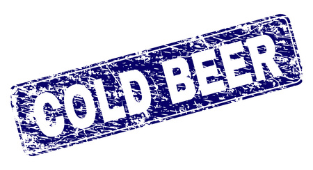 COLD BEER stamp seal print with grunge style. Seal shape is a rounded rectangle with frame. Blue vector rubber print of COLD BEER text with dirty style. 일러스트