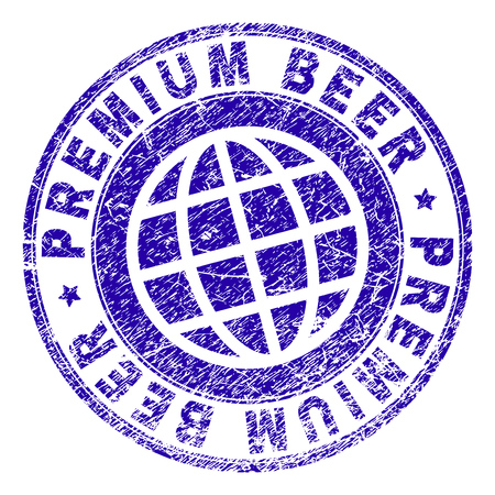 PREMIUM BEER stamp imprint with grunge texture. Blue vector rubber seal imprint of PREMIUM BEER tag with corroded texture. Seal has words arranged by circle and globe symbol.