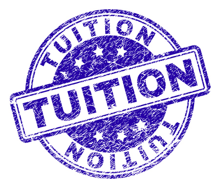 TUITION stamp seal watermark with grunge texture. Designed with rounded rectangles and circles. Blue vector rubber print of TUITION title with retro texture.