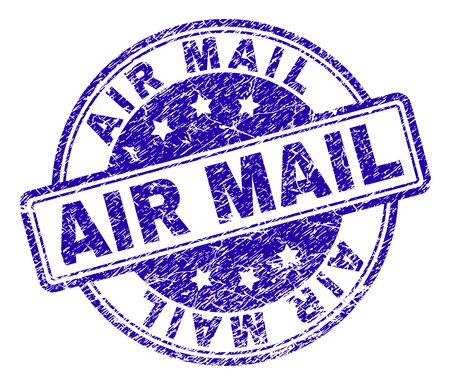 AIR MAIL stamp seal imprint with distress texture. Designed with rounded rectangles and circles. Blue vector rubber print of AIR MAIL title with retro texture.