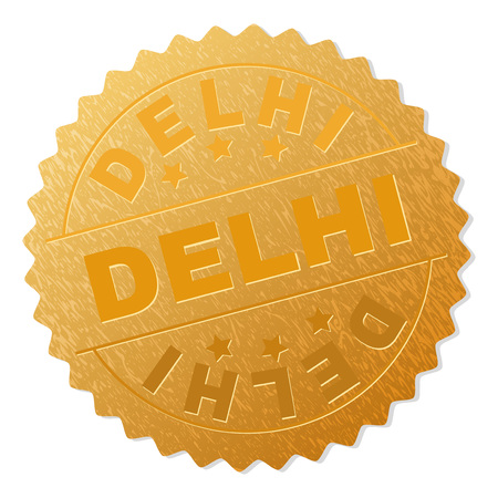 DELHI gold stamp award. Vector gold medal with DELHI text. Text labels are placed between parallel lines and on circle. Golden surface has metallic structure.