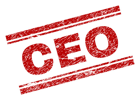 CEO seal stamp with grunge texture. Red vector rubber print of CEO text with grunge texture. Text label is placed between double parallel lines.  イラスト・ベクター素材