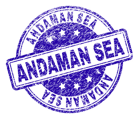 ANDAMAN SEA stamp seal watermark with grunge texture. Designed with rounded rectangles and circles. Blue vector rubber print of ANDAMAN SEA title with grunge texture.